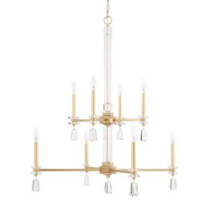Milan - 2-Tier Chandelier 8 Light Capital Gold Steel - in Transitional style - 33 high by 38.5 wide
