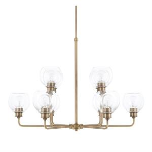 Mid-Century Chandelier 6 Light Polished Nickel Steel