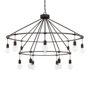 2-Tier Chandelier 14 Light Black Iron