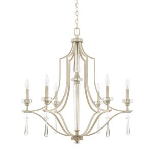 Serena - Chandelier 6 Light Winter White - in Transitional style - 32 high by 33.5 wide