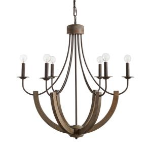 Tybee - Chandelier 6 Light Nordic Grey  - in Industrial style - 30.25 high by 32 wide