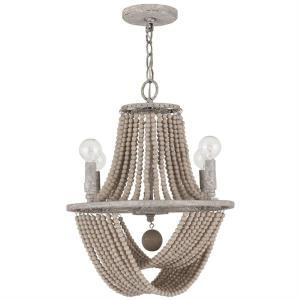 Kayla Chandelier 4 Light Mystic Sand Metal/Wood