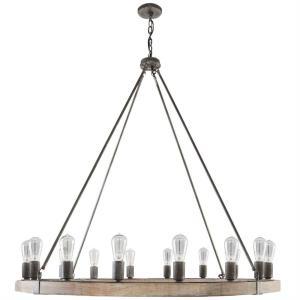 Chandelier 6 Light Urban Wash Wood/Steel - in Urban/Industrial style - 48 high by 49.5 wide