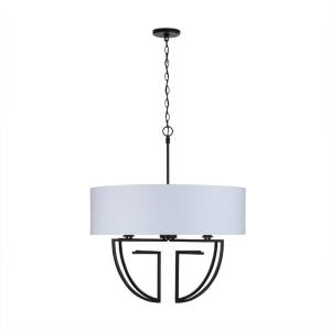 Chandelier 4 Light Polished Nickel Metal/Shade - in Transitional style - 28 high by 31.5 wide