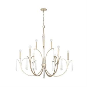 Gwyneth - Chandelier 10 Light Winter Gold Metal - in Traditional style - 43 high by 41.25 wide