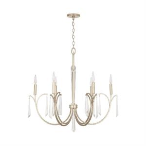 Gwyneth - Chandelier 6 Light Winter Gold Metal - in Traditional style - 33.5 high by 32.5 wide
