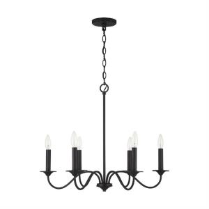 Vincent - Chandelier 6 Light Black Iron Metal - in Transitional style - 26 high by 22 wide