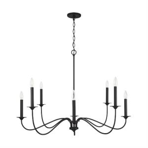Vincent - Chandelier 8 Light Black Iron Metal - in Transitional style - 40 high by 29.5 wide