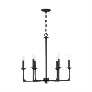 Clint - Chandelier 6 Light Black Iron Metal - in Transitional style - 28 high by 27.5 wide