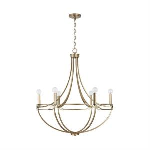 Jordyn - Chandelier 6 Light Aged Brass Metal - in Transitional style - 29.5 high by 33.5 wide