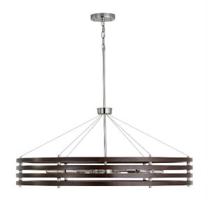 Dalton - Chandelier 6 Light Dark Wood/Polished Nickel Metal - in Modern style - 36.5 high by 16 wide