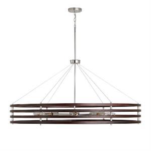 Dalton - Chandelier 8 Light Dark Wood/Polished Nickel Metal - in Modern style - 48.5 high by 23.5 wide