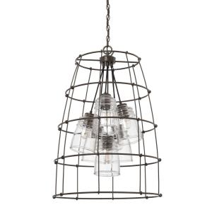Turner - 6 Light Foyer - in Industrial style - 23 high by 33.5 wide