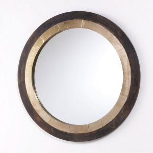 31 Inch Round Decorative Wooden Mirror - in Industrial style - 31 high by 31 wide