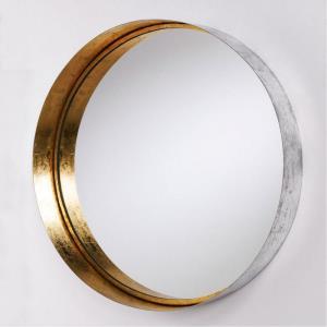 """35.75"""" Round Decorative Metal Frame Mirror"""