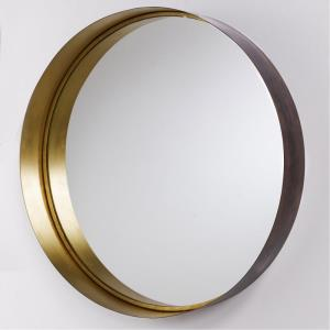 35.75 Inch Round Decorative Metal Frame Mirror - in Transitional style - 35.75 high by 35.75 wide