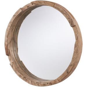 36 Inch Round Wood Mirror