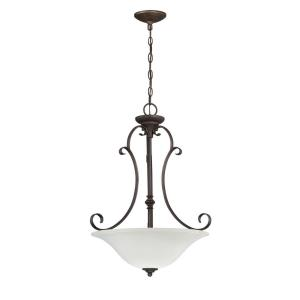 Barrett Place - Three Light Inverted Pendant - 20 inches wide by 27.5 inches high