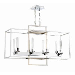 Cubic - Eight Light Linear Chandelier - 12 inches wide by 24.5 inches high