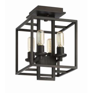 Cubic - Four Light Semi-Flush Mount - 10.5 inches wide by 15 inches high