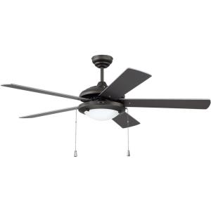 Nikia - Ceiling Fan with Light Kit in Modern, Contractor Style - 52 inches wide by 15.95 inches high