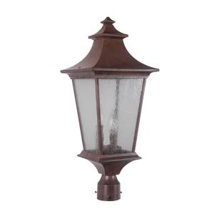 Argent II - Three Light Post Lantern in Transitional Style - 10 inches wide by 24.56 inches high