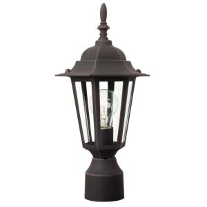 Hex - One Light Outdoor Post Lantern in Contractor Style - 8 inches wide by 16 inches high