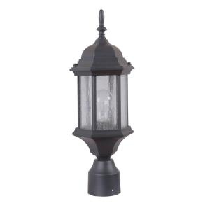 Hex Style Cast - One Light Outdoor Medium Post Mount in Contractor Style - 6.5 inches wide by 18.13 inches high