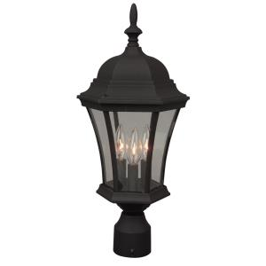 Three Light Outdoor Post Lantern in Contractor Style - 9.41 inches wide by 21 inches high