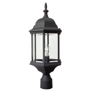 Cast Aluminum - One Light Post Lamp in Contractor Style - 9.5 inches wide by 21.5 inches high