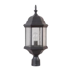 Hex Style Cast - One Light Outdoor Post Mount in Contractor Style - 9.5 inches wide by 21.5 inches high