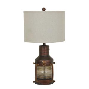 Copper Lantern - One Light Table Lamp with Nightlight