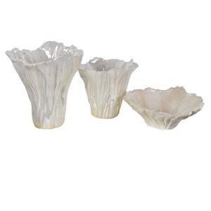 Quinton - 10.5 Inch Organic Shaped Vases and Bowl (Set of 3)
