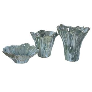 Quinton - 12 Inch Organic Shaped Vases and Bowl (Set of 3)