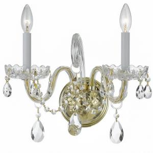 "Traditional Crystal - 15"" Two Light Wall Sconce"