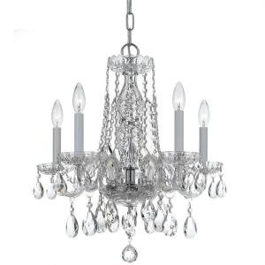 Crystal - Five Light Mini Chandelier in classic, elegant, and casual Style - 18 Inches Wide by 20 Inches High