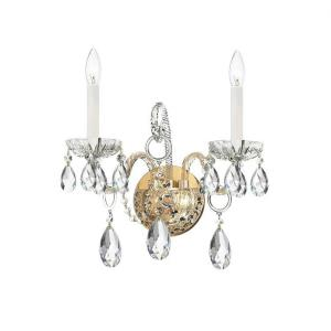 Crystal - Two Light Wall Sconce in classic, elegant, and casual Style - 14 Inches Wide by 12 Inches High