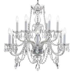 Crystal - Twelve Light 2-Tier Chandelier in classic, elegant, and casual Style - 31 Inches Wide by 26 Inches High