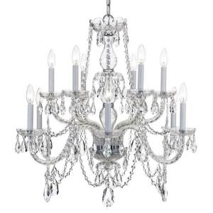 Traditional Crystal - Twelve Light 2-Tier Chandelier