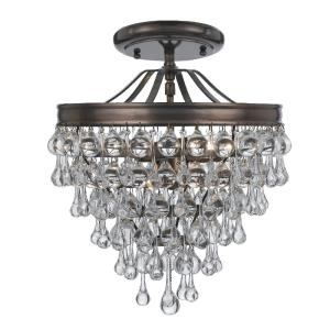 Calypso - Three Light Semi-Flush Mount in traditional and contemporary Style - 13 Inches Wide by 14 Inches High