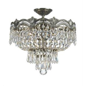 Majestic Crystal 3 Light Ceiling Mount Cast Brass