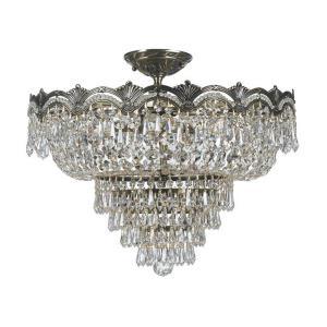 Majestic Crystal 5 Light Ceiling Mount Cast Brass