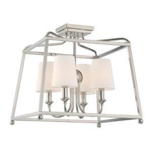 Sylvan - Four Light Flush Mount with Linen Fabric Shades