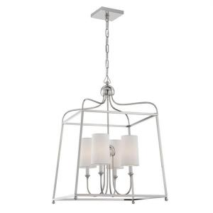 Sylvan - Four Light Chandelier with Linen Fabric Shades