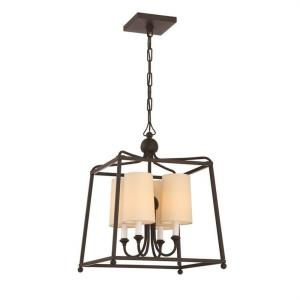 Sylvan - Four Light Pendant with Linen Fabric Shades