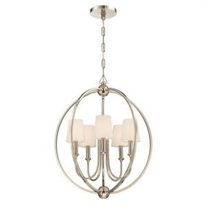 Sylvan - Five Light Chandelier with Silk or Linen Fabric Shades in minimalist Style - 22.5 Inches Wide by 26.5 Inches High