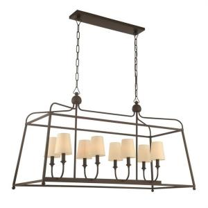 Sylvan - Eight Light Chandelier with Linen Fabric Shades in classic, elegant, and casual Style - 42 Inches Wide by 25 Inches High