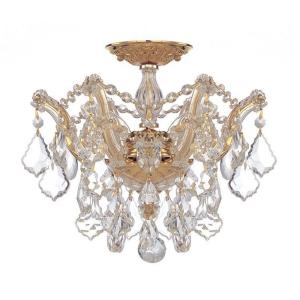 Maria Theresa - 3 Light Flush Mount in natural, organic, and raw Style - 13.5 Inches Wide by 11.5 Inches High