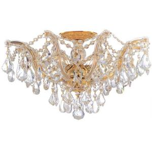 Maria Theresa Collection Crystal 5 Light Ceiling Mount in Classic Style - 19 Inches Wide by 11.5 Inches High