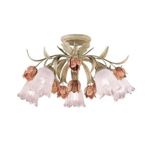 Southport  Floral 5 Light Ceiling Mount Wrought Iron